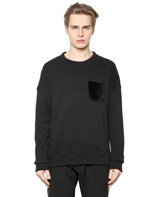 Giorgio Brato   Чёрный Shearling Pocket On Cotton Sweatshirt