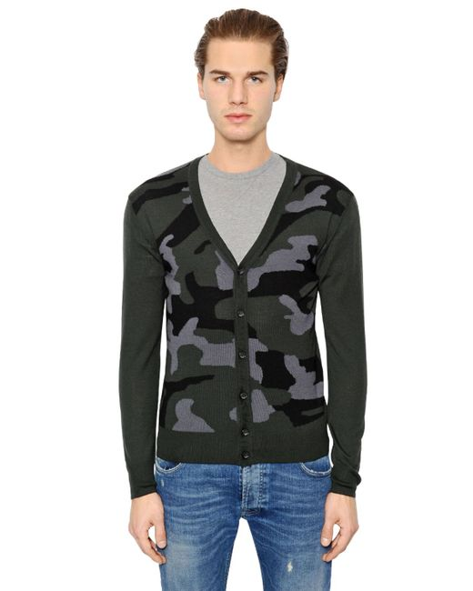 Hydrogen | Зелёный Wool Cashmere Cardigan Sweater
