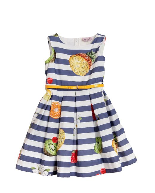 Mona Lisa   Многоцветный Fruit Printed Cotton Poplin Dress