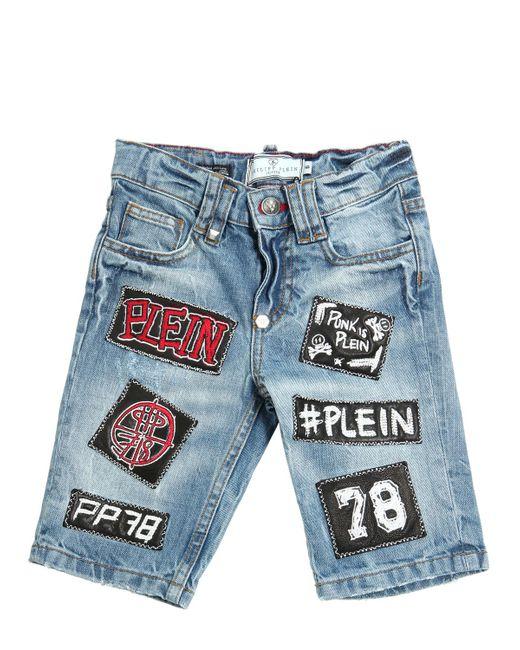 PHILIPP PLEIN JUNIOR | Denim Wrinkled Washed Cotton Shorts