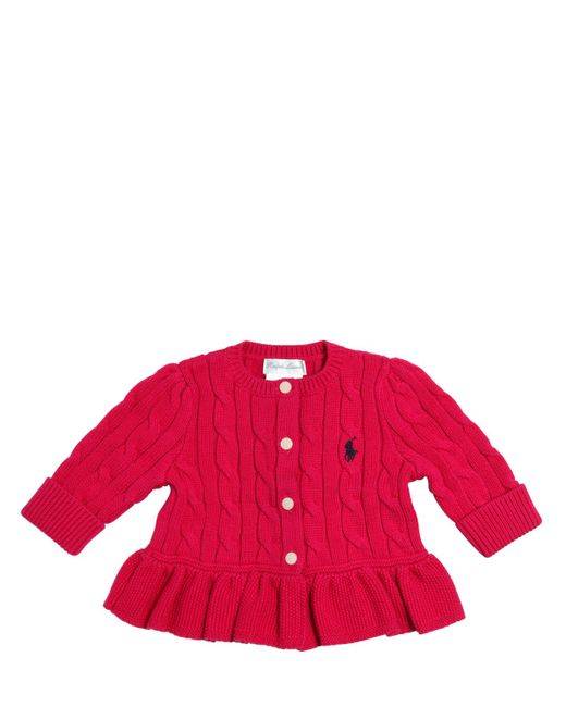 RALPH LAUREN CHILDRENSWEAR | Fuchsia Cable Tricot Knit Cotton Cardigan