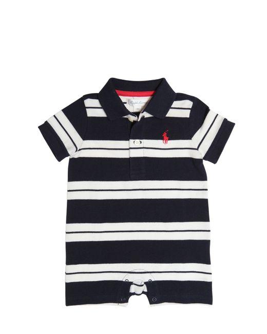 RALPH LAUREN CHILDRENSWEAR | Белый Striped Cotton Piqué Polo Romper