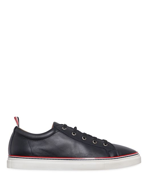 Thom Browne   Navy Leather Low Lace-Up Sneakers
