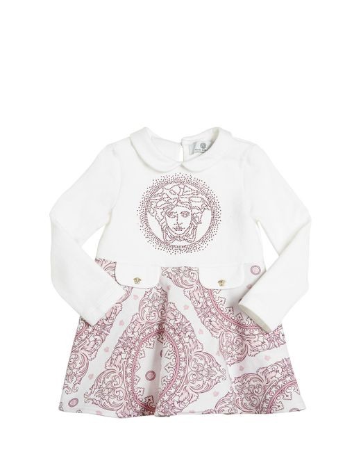 Young Versace | Белый Printed Embellished Cotton Dress