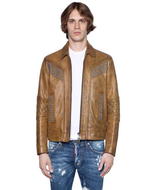 Dsquared2 | Camel Studded Vintage Effect Leather Jacket