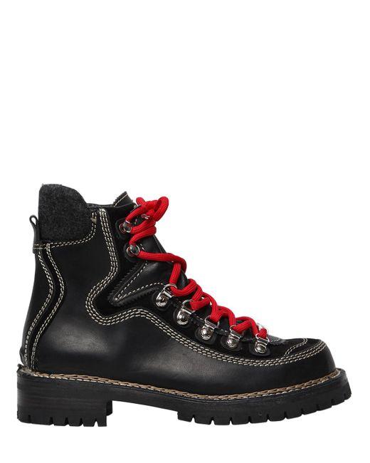 Dsquared2 | Женские Чёрные Кожаные Ботинки Для Пешего Туризма Canada 40Мм