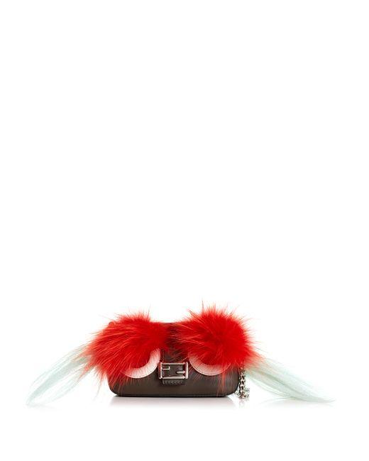 Fendi | Женское Зелёный Micro Baguette Fur-Embellished Cross-Body Bag