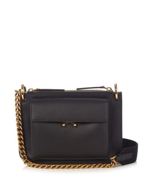 Marni   Женское Чёрный Trunk Bi-Colour Leather Cross-Body Bag