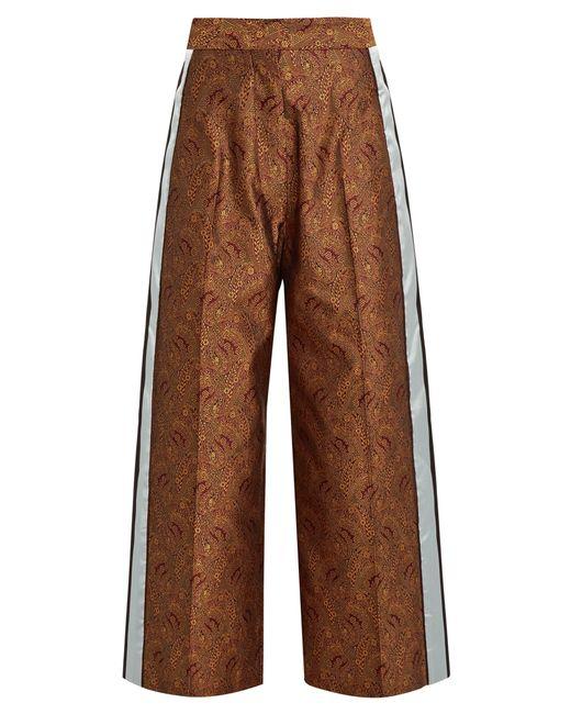 HILLIER BARTLEY   Женское Burgundy Paisley-Jacquard Silk Track Pants