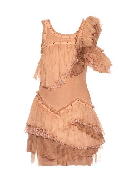 Roberto Cavalli   Женское Розовый Sleeveless Ruffled Silk-Chiffon Dress