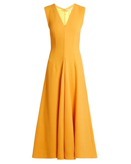 Emilia Wickstead | Женское Желтый Suki V-Neck Sleeveless Wool Midi Dress
