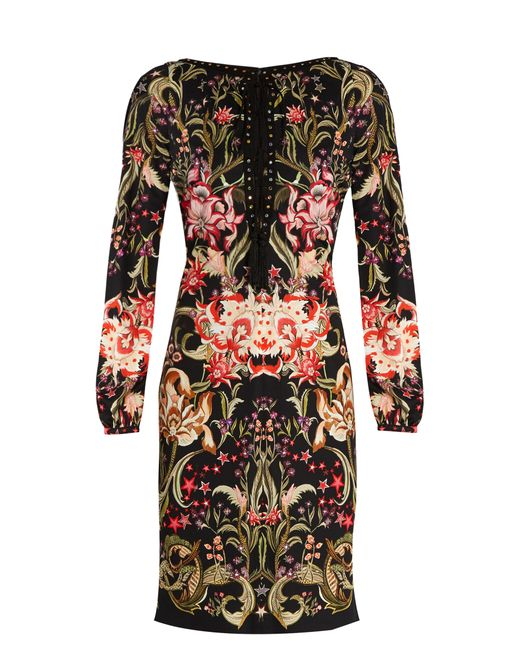 Roberto Cavalli | Женское Красный Galaxy Garden-Print Lace-Up Jersey Dress