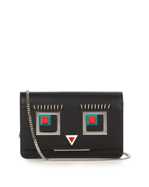 Fendi | Женское Чёрный Square Eyes Leather Cross-Body Bag
