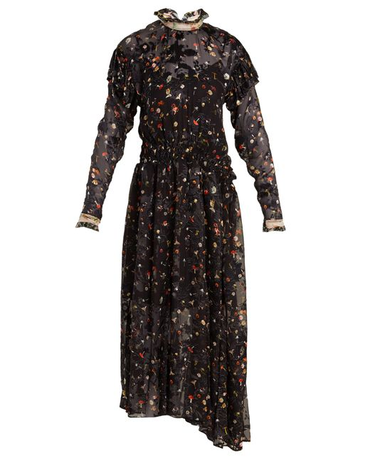 Preen By Thornton Bregazzi | Женское Чёрный Olivia Truffle-Print Silk-Blend Devoré Dress