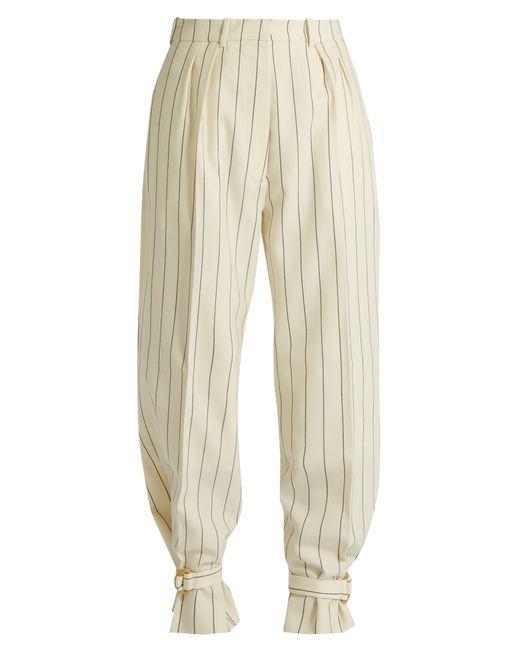 HILLIER BARTLEY | Cream Stripe Tie-Cuff Striped Wool Trousers