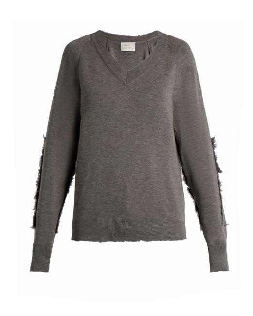 HILLIER BARTLEY   Серый Distressed-Edge Wool Sweater