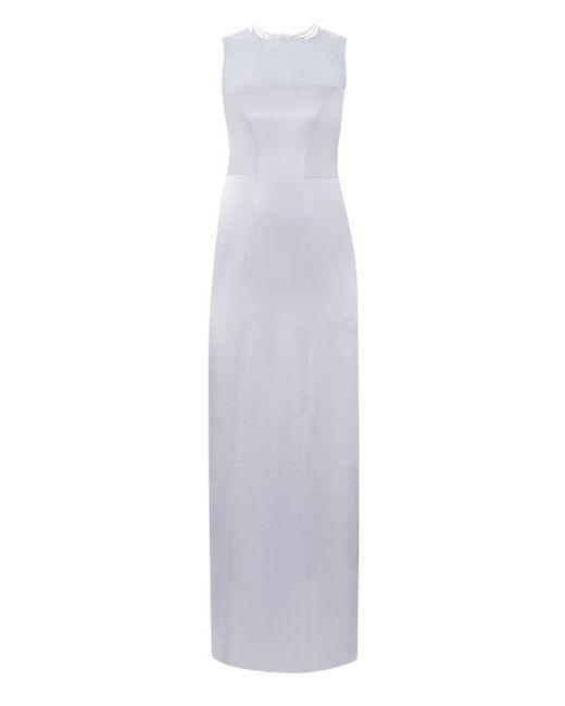 GALVAN   Женское Серебристый Embroidered Satin Gown