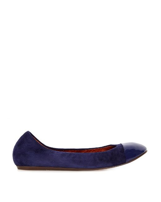 Lanvin | Navy Suede And Patent-Leather Ballet Flats