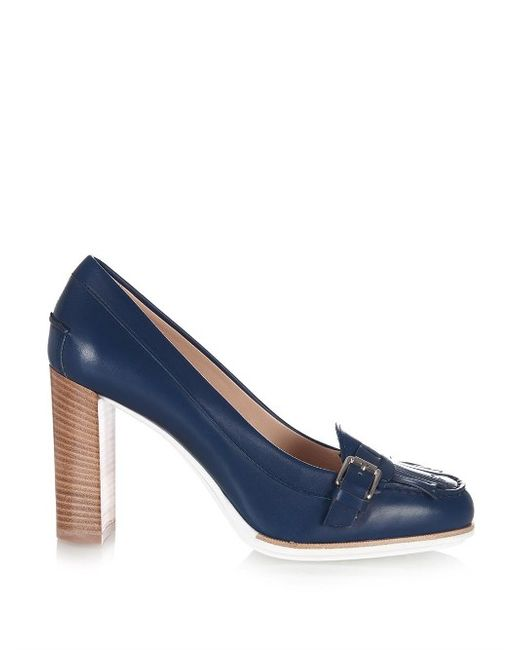Tod'S | Женское Navy Gomma Round-Toe Leather Pumps