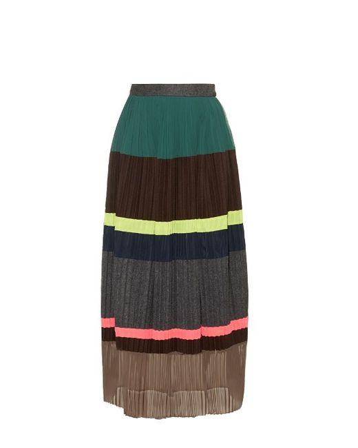 Kolor   Женское Коричневый Block Panel Pleated Wool-Blend Skirt