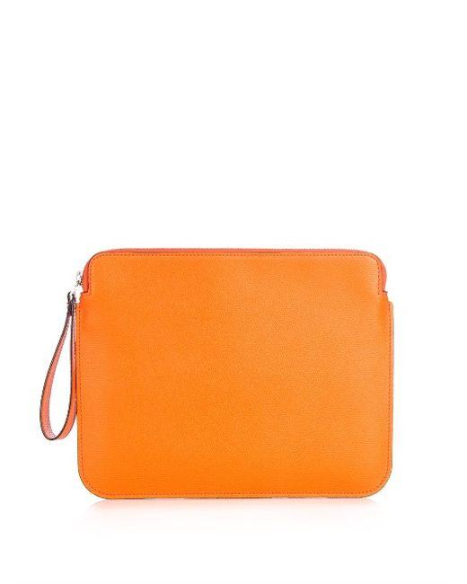 Valextra   Оранжевый Grained-Leather Tablet Pouch