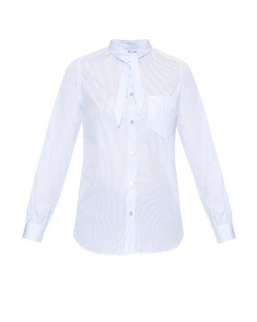 HILLIER BARTLEY | Женское Белый Neck-Tie Striped Cotton Shirt
