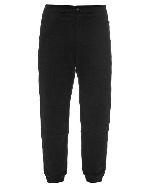 Alexander McQueen   Мужское Чёрный Straight-Leg Cotton-Jersey Track Pants