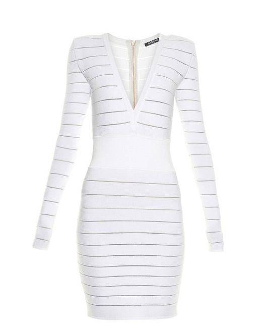 Balmain | Женское Белый Deep V-Neck Knit Dress