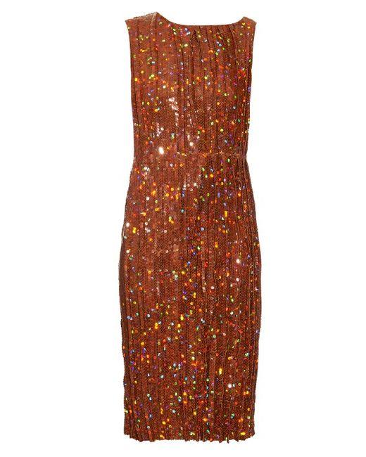 Nina Ricci   Женское Золотой Sequin-Embellished Pleated Dress