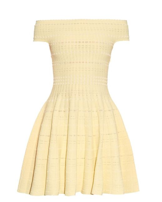 Alexander McQueen   Женское Желтый Off-The-Shoulder Knitted Mini Dress