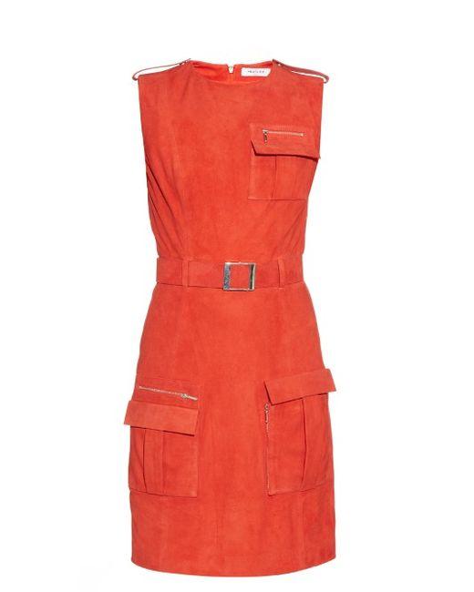 Mugler   Женское Красный Front-Pocket Belted Suede Dress