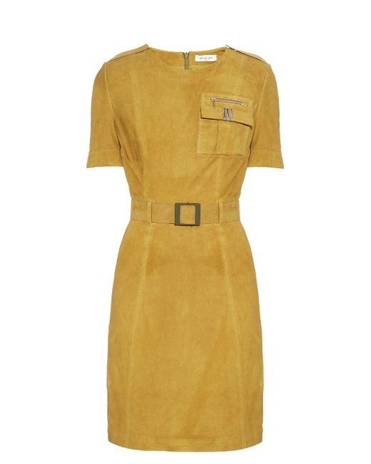 Mugler | Женское Хаки Short-Sleeved Belted Suede Dress