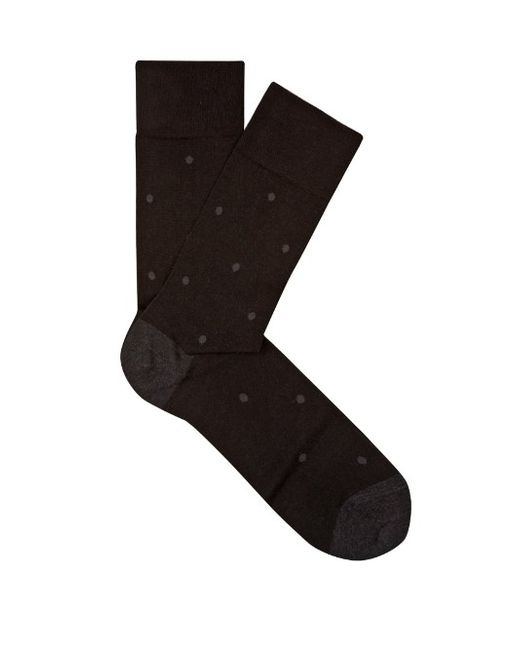 Falke | Мужское Серый Polka-Dot Cotton-Blend Socks