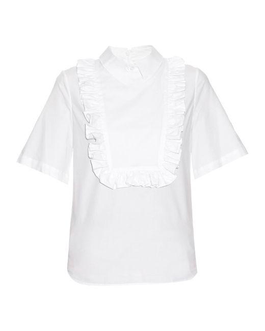 Stella Jean | Женское Белый Frill-Bib Cotton-Blend Shirt