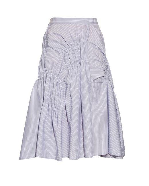 Y'S BY YOHJI YAMAMOTO | Белый Asymmetric Gathered Cotton-Blend Midi Skirt