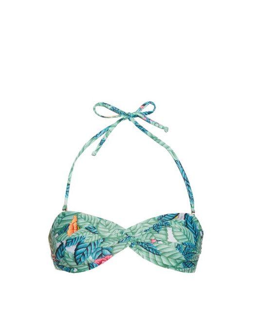 Mara Hoffman | Leaf-Print Twist-Front Bandeau Bikini Top