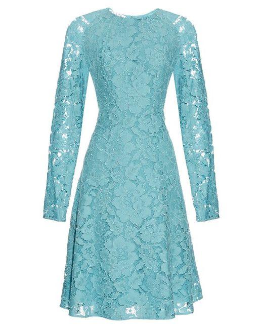 Oscar de la Renta | Синий Long-Sleeved Lace Dress