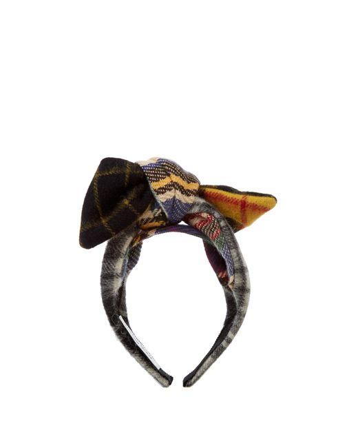 BENOÎT MISSOLIN | Белый Camila Tartan-Bow Wool Headband