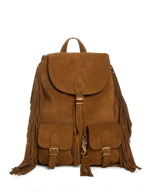 Saint Laurent | Мужское Tan Fringed Suede Backpack