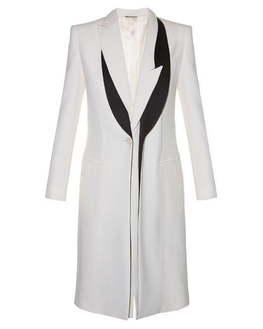 Alexander McQueen   Женское Cream Multi Asymmetric-Lapel Leaf-Crepe Coat