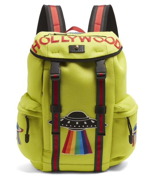 Мужское Желтый Hollywood-Embroidered Backpack Gucci 1159525 1c39e6f61c540