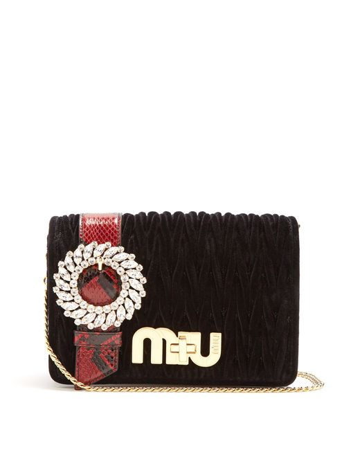 Miu Miu   Женское Чёрный Snakeskin-Trimmed Velvet Cross-Body Bag