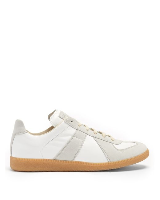 Maison Margiela | Мужское Белый Replica Contrast-Panel Low-Top Leather Trainers