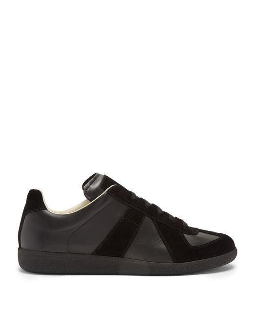 Maison Margiela | Мужское Чёрный Replica Suede-Panel Low-Top Leather Trainers
