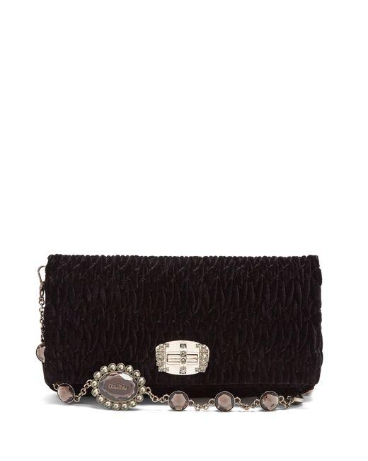 Miu Miu   Женское Чёрный Crystal-Embellished Quilted-Velvet Shoulder Bag