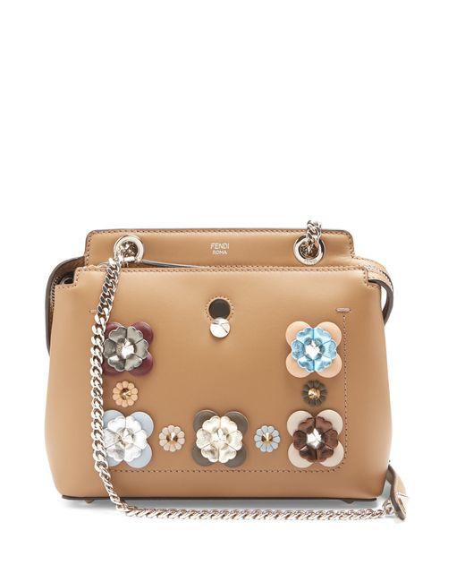 Fendi   Женское Tan Multi Dotcom Mini Flowerland-Embellished Bag