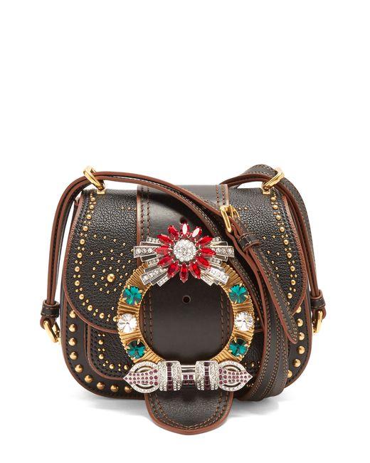 Miu Miu | Женское Чёрный Dahlia Embellished Leather Cross-Body Bag