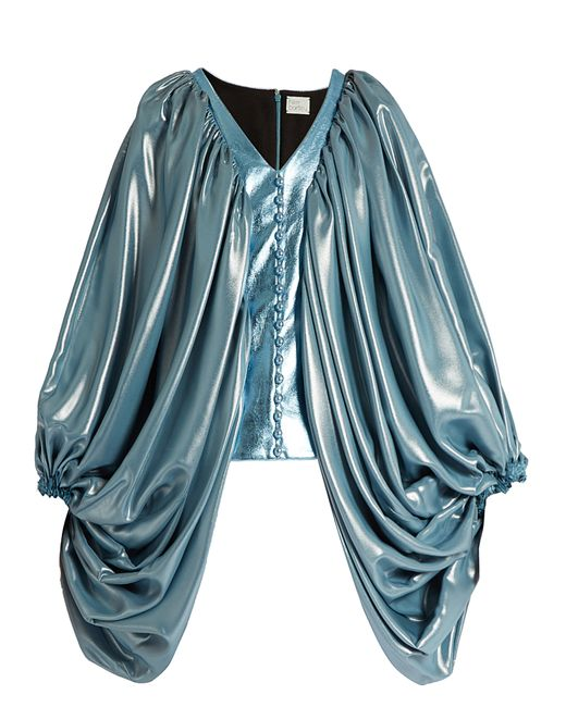 HILLIER BARTLEY | Синий Balloon-Sleeve Silk-Blend And Faux-Leather Top