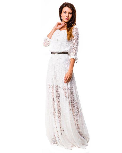 Mondigo | Женское Кремовое Платье 5344