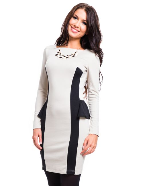 Mondigo | Женское Бежевое Платье 5052